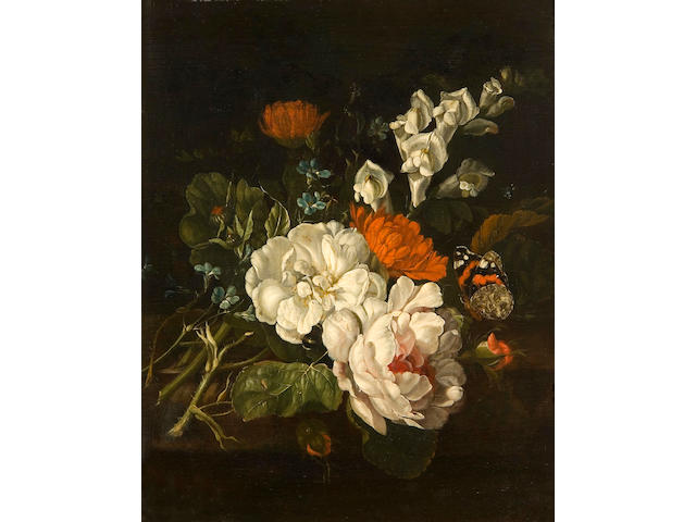 Follower of Rachel Ruysch (Amsterdam 1664-1750) Roses, chrysanthemums and forget-me-nots with a red admiral butterfly on a marble ledge