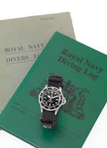 Rolex. A rare and historically interesting stainless steel automatic centre seconds Royal Navy Military Issue divers watch with Royal Navy Divers log book and photographic records relating to Military exercises including the Falklands WarSubmariner, Ref: 5513, Case No.3927165, Made in 1972, Issued in 1975