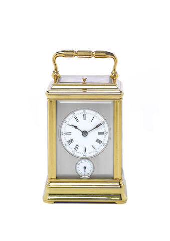 A late 19th century French brass gorge cased petite-sonnerie carriage clock with alarm Numbered 1099