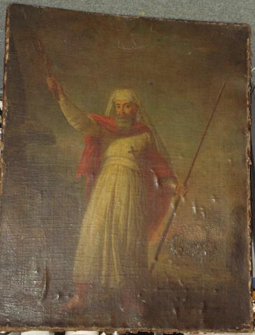 Venetian School, 18th Century Portrait of a Saint, possibly Philip Apostle, before a landscape, holding a staff and crucifix,