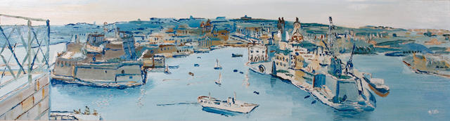 Fred Yates (British, born 1922) Grand harbour Valetta, Malta, on board, signed lower right, 31 x 117cm  See front cover illustration