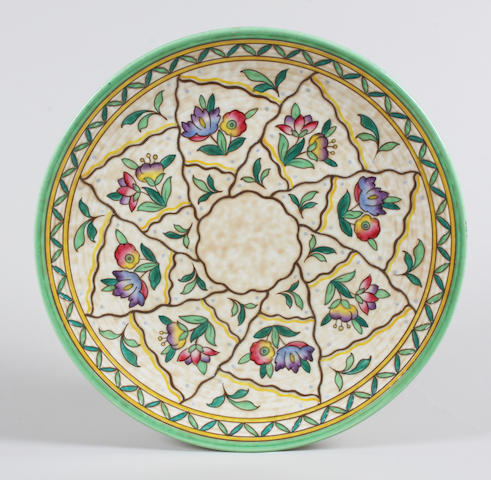 A Crown Ducal charger designed by Charlotte Rhead Circa 1939