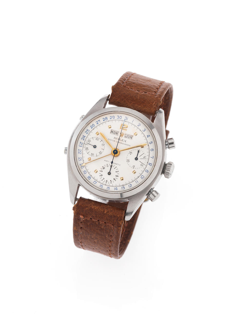 Rolex. A very fine and rare stainless steel triple calendar chronograph wristwatch together with Rolex box and rare Guarantee papersOyster Chronograph, Anti-Magnetic, Ref.6036, Case No.917856, Made in 1952.
