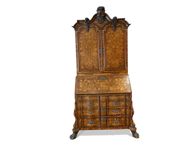 A good mid 18th century Dutch walnut and floral marquetry bureau cabinet circa 1740