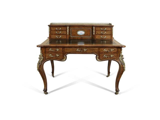 A fine Victorian walnut, purplewood and gilt metal mounted bonheur du jour circa 1880, made by Gillows,