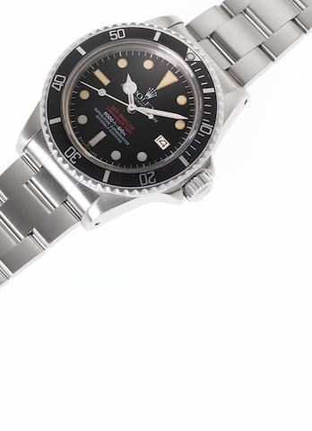 Rolex. A fine and rare stainless steel automatic wristwatch with gas-escape valve, fitted Rolex box