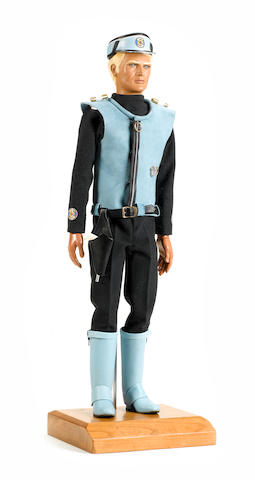 Captain Scarlet And The Mysterons: an original Captain Blue puppet head and hands, painted composition,