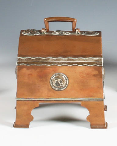 An Arts and Crafts copper and electroplate mounted casket in the style of Henry Wilson