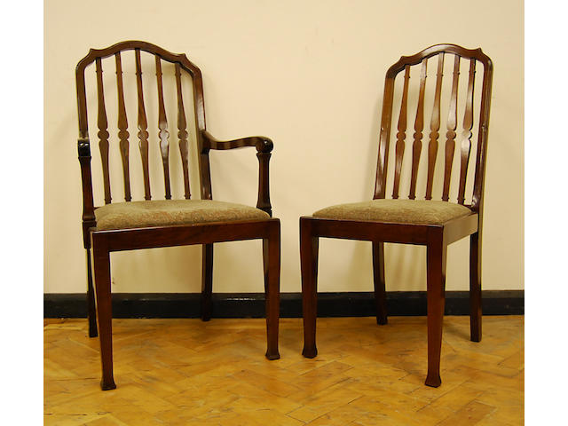A set of eight mahogany dining chairs, early 20th Century