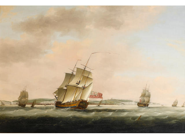 Thomas Luny (British, 1759-1837) Shipping in the Straits of Dover