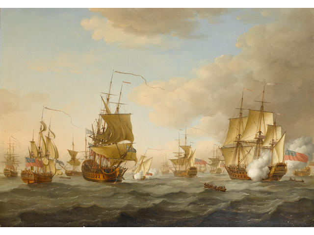 John Cleveley (British, circa 1712-1777) Admiral Byng's fleet getting underway from Spithead