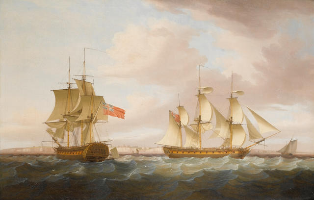 Thomas Whitcombe (British, 1760-1824) The Calcutta-trade merchantman 'Nonsuch' in two positions off the Kingsgate Gap