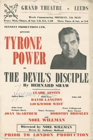 A Tyrone Power autographed theatre poster, together with a further signed scrap book page,