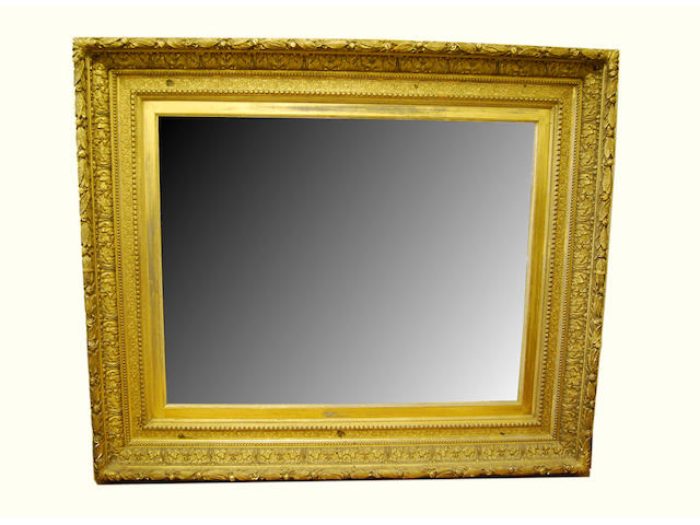 A large gilt gesso mirror, the frame 19th Century
