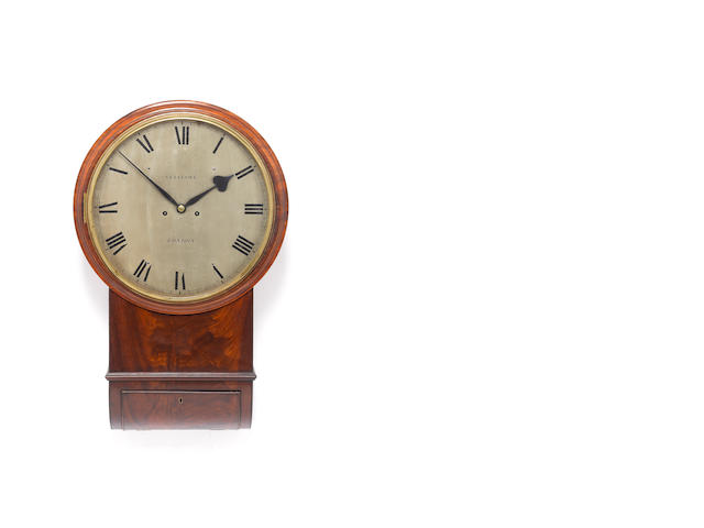A good early 19th century mahogany drop dial striking wall clock  Vulliamy, London, Number 954