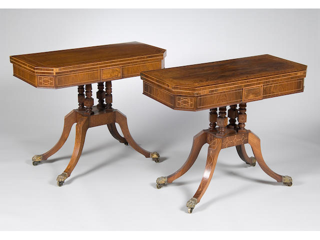 A matched pair rosewood and birds eye maple, boxwood stung card tables