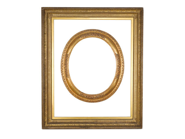 A large French 19th Century gilded composition Empire frame