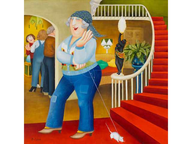 Beryl Cook (British, 1926-2008) Granny with her Pet Mouse 53.3 x 53.3 cm. (21 x 21 in.) (Painted in 1983)