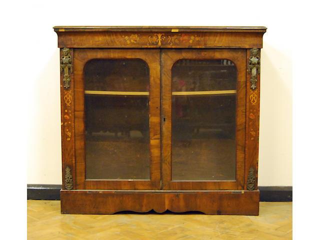 A walnut glazed side cabinet, 19th Century