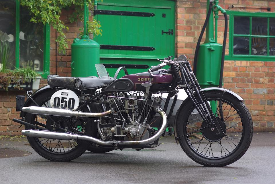 The ex-Roland Martin, Brooklands,1927 Zenith-JAP 8/45hp 'Championship' Motorcycle Combination  Frame no. 9737 Engine no. KTOTR/I/77181