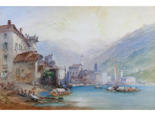 "William Callow, RWS (British, 1812-1908) ""View of the Town and Lake Lugano"","