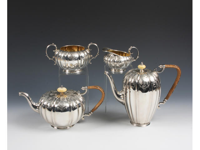 A silver four piece tea and coffee service By Elkington and Co., Birmingham, 1924,  (4)