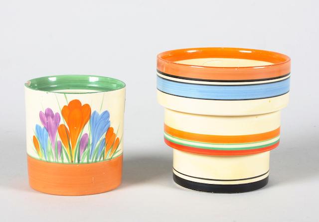 A Clarice Cliff Fern pot and a 'Crocus' preserve pot