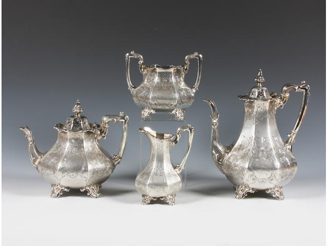 A Victorian silver four piece tea and coffee set By William Smily, London, 1859, with retailer's mark for A.B Savory and Sons, 11 & 12 Cornhill,  (4)