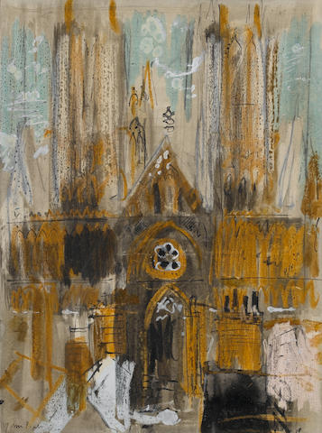 John Piper C.H. (British, 1903-1992) Lincoln Cathedral 33 x 24.5 cm. (13 x 9 3/4 in.)