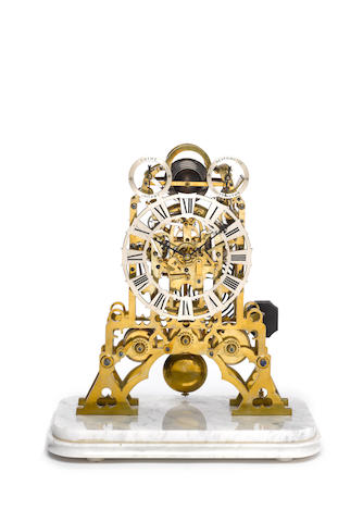 A mid to late 19th century quarter chiming skeleton clock William Rogers, Liverpool