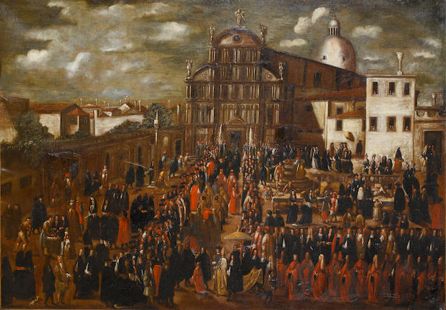 Circle of Joseph Heintz the Younger (Swiss, born circa 1600-1678) Procession by San Zaccaria, Venice