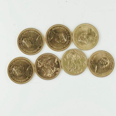 Edward VII: A sovereign, 1907; Elizabeth II: six sovereigns, 1974, 1976 (x3) and 1978 (x2).
