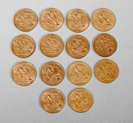 14 half Sovereigns 1894, 1896, 1897, 1899 (x2), 1900, 1905, 1908, 1909, 1911 (x2), 1912 and 1913 (x2).