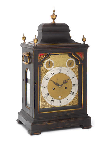 A good third quarter of the 18th century gilt brass mounted ebonised bracket clock  Gravell & Tolkie