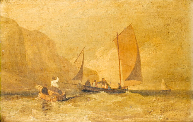 Alfred Priest (British, 1810-1850) A lugger with passengers inshore below cliffs