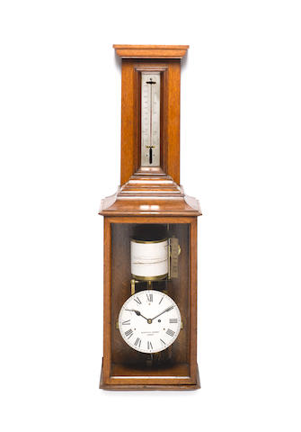 A large and impressive early 20th century recording barometer with fusee movement Negretti and Zambra