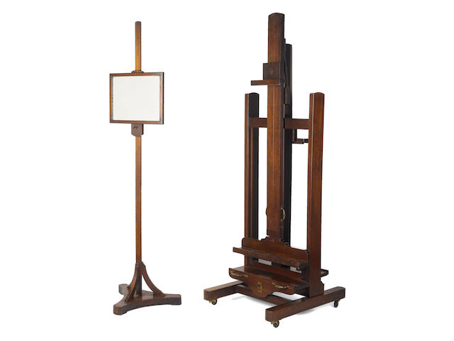 A mahogany double sided studio easel and a pedestal mirror, with provenance from Philip de Laszlo, Oswald Birley and John Leigh-Pemberton
