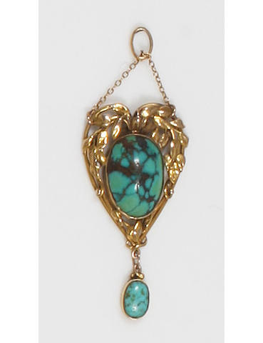 An Arts and Crafts gold and turquoise pendant Unmarked,
