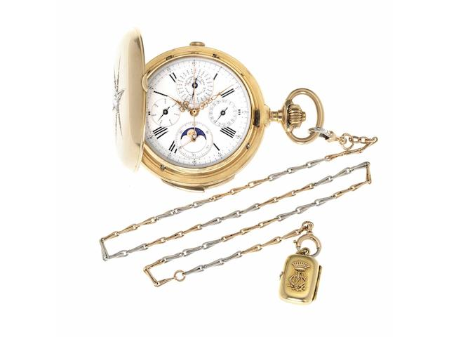 Schwob Freres. A fine and rare late 19th century 18ct gold full hunter minute repeating perpetual calendar chronograph pocket watch set with diamonds, two colour gold chain, seal and with rare Chinese photo transfer portraits  Chaux-de-Fonds, Case No.38708, Movement No.16, circa 1890