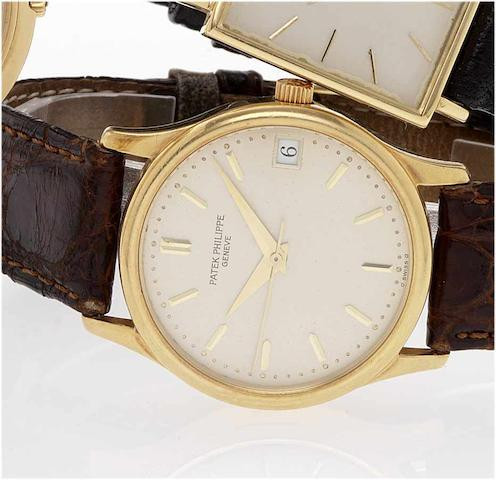 Patek Philippe. An fine 18ct gold automatic centre seconds calender wristwatchCalatrava, Ref:3998, Case No.2934496, Movement No.1911679, 1990's