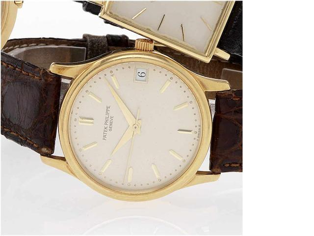 Patek Philippe. An fine 18ct gold automatic centre seconds calender wristwatch Calatrava, Ref:3998, Case No.2934496, Movement No.1911679, 1990's