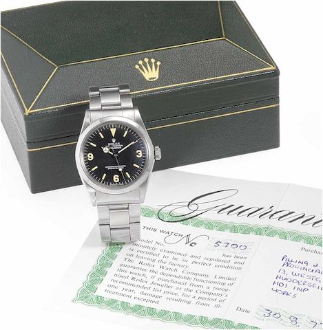 Rolex. A fine stainless steel automatic centre seconds wristwatch together with original Rolex box and Guarantee booklet  Ref:1016, Made in 1972, Sold on the 30th August 1977