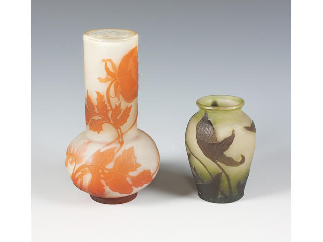 Two Emile Gallé cameo glass vases,