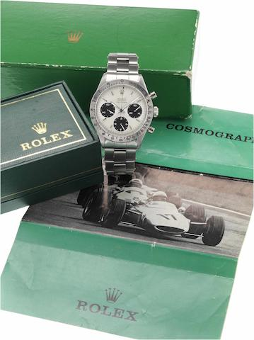 Rolex. A fine and rare stainless steel chronograph wristwatch with original box and instructionsRef:6239, circa 1965