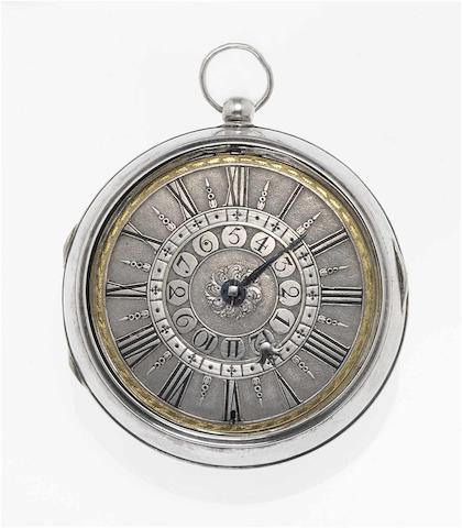 Joseph Windmills. A fine and rare early 18th century silver pair cased repeating alarm pocket watch London circa 1700