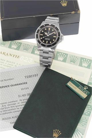 "Rolex. A fine and rare stainless steel automatic wristwatch with gas-escape valve, fitted Rolex box stainless steel Oyster bracelet and Rolex service Guarantee papers dated April 2nd 2008 Ref: 1665 ""White Sea-Dweller"" Mk IV, Case No.6018465,  Made in 1979, Sold in 1980"