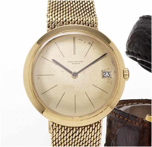Patek Philippe. A fine 18ct gold automatic calendar bracelet watch Ref:3565, Case No.2674081, Movement No.1128289, 1960's