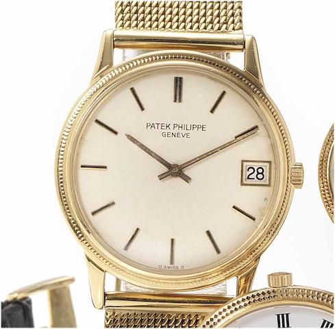 Patek Philippe. A fine and rare 18ct gold automatic calendar bracelet watch  Calatrava, Ref:3602, Case No.525728, Movement No.1300737, 1970's