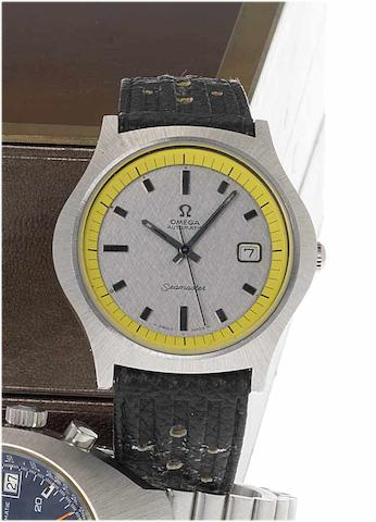 Omega. A rare stainless steel automatic centre seconds calendar wristwatch  Seamaster, Case No.166066, 1969