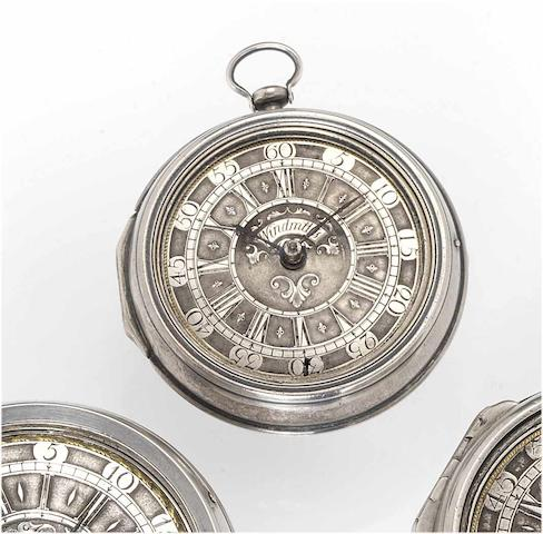 Windmills. An early 18th century silver pair cased pocket watch London circa 1710